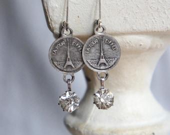Vintage french earrings eiffel tower earrings rhinestone earrings Paris earrings assemblage jewelry F617-by French Feather Designs.