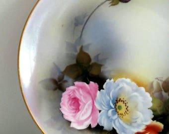 Noritake Pink Blue English Rose Decorative Plate