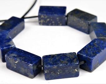 Genuine Natural Lapis Lazuli Square Prism Bead - 10.5 mm x 5.5 mm - 8 beads - B9210