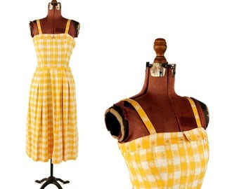 Vintage 1950's Yellow + White Floral Gingham Checkered Rockabilly Pin Up Summer Sun Dress S