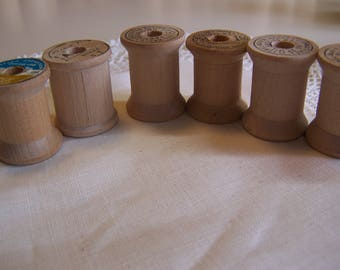 Vintage Belding Corticelli Small Wooden Thread Spools, Lot of 6