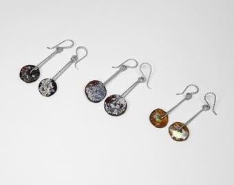 Roman Glass Earrings in Silver, Choice of 3
