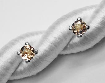 Imperial Topaz Stud Earrings in Silver, 4 mm Round