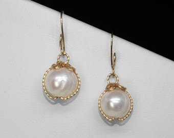 Freshwater Pearl Earrings in Gold, 11 mm