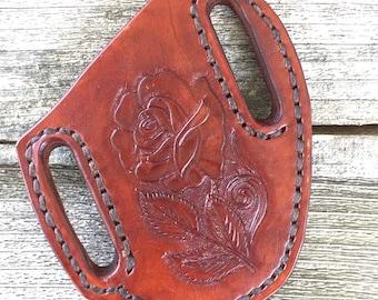 Holster For Folding Knife Hand Carved Rose Design