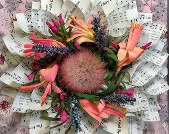 Flower Hymnal Music Cone Wreath - Gift