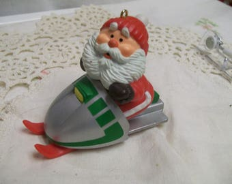 Vintage HALLMARK Ornament 1984 Santa on SNOWMOBILE Christmas tree Decoration Santa Claus Holiday Ornament
