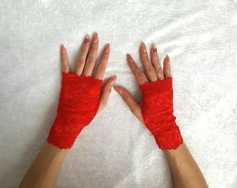 White lace fingerless mittens Black Lace Mittens White lace Fingerless Gloves
