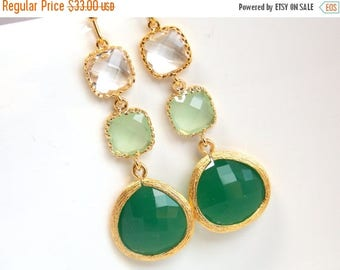 SALE Green Earrings, Green Mint Earrings, Clear, Gold, Drop, Dangle, Bridesmaid Jewelry, Bridesmaid Earrings, Bridal Jewelry, Bridesmaid Gif
