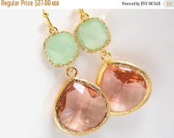 SALE Gold Peach Earrings, Mint Green Earrings, Champagne Earrings, Bridesmaid Jewelry, Wedding Jewelry, Bridesmaid Earrings, Bridesmaid Gift