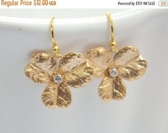 SALE Gold Flower Earrings, Gold Earrings, Triple Petal, Matte Finish, Gold Orchid, Cubic Zirconia, Bridesmaid Earrings, Bridesmaid Gifts