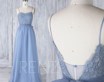 Bridesmaid Dress Steel Blue Sweetheart Lace Tulle Wedding Dress,Spaghetti Straps Prom Dress,A line Open Back Maxi Dress Full Length(LS326)