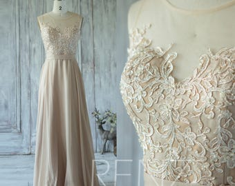 Champagne Bridesmaid Dress Tulle Illusion Wedding Sweetheart Lace Prom Long Chiffon