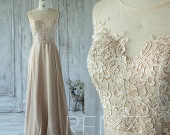 Champagne Bridesmaid Dress, Tulle Illusion Wedding Dress, Sweetheart Lace Prom Dress, Long Chiffon Dress Floor Length (X015)