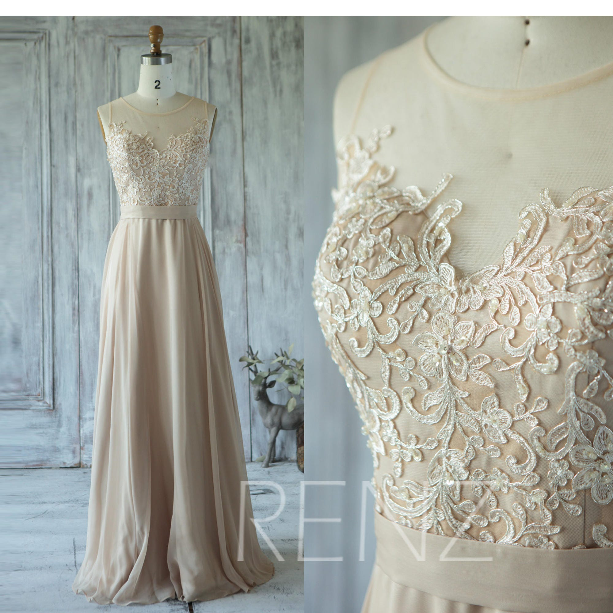 Champagne bridesmaid dress tulle illusion wedding dress zoom ombrellifo Choice Image