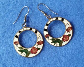 Vintage Cloisonne Earrings, gogo hoops, floral enamel vintage earrings on surgical steel hooks