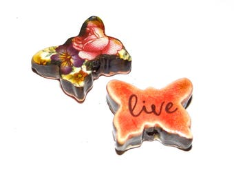 """Ceramic Double Sided Quote Word Butterfly Bead  Handmade Focal 1"""""""