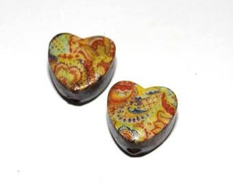 Ceramic Earring Bead Beads Pair Handmade Rustic Hearts Delft