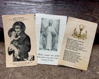 Set of Three Vintage 1930s French Catholic Prayer Cards