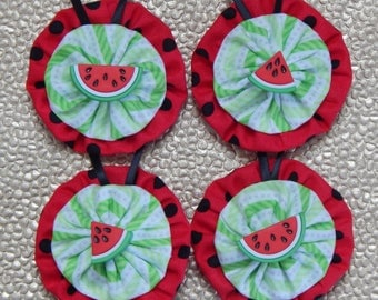 Sweet Watermelon Yo Yo Ornaments - 4 Piece Set