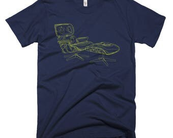 Eames Line Sketch Lounge Chair & Ottoman T-shirt for Men. Gift for architect, design lover or interior designer. Other colors too!