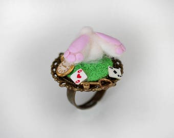 Alice in Wonderland Ring -White Rabbit Ring-Fairy Tale Ring-Polymer Clay Ring- fairy Tale Jewelry-White Rabbit Jewelry -  Fantasy ring