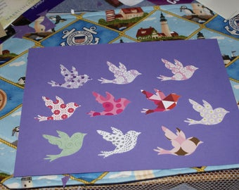 24  YOU CHOOSE  BIRD confetti hand punched  2  inch wide and 1 1/2 tall choices listed in drop down below all scrapbooking paper, white back