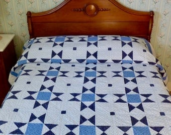 Quilt Hand Quilted Ohio Star Blues and White