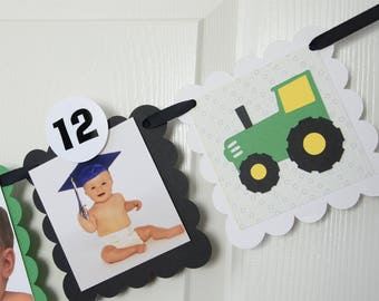 Tractor Month Photo Banner, First Year Photo Banner, First Year Banner, Yellow, Black, White and Green, 5 x 5 Scallops, c-1318