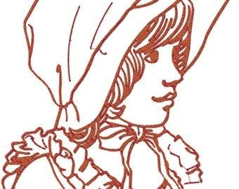 10 LineArt Bonnet Ladies 8x8 hoop Machine Embroidery Designs. Downloadable formats.