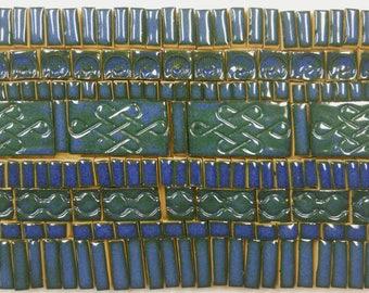 175+ Handmade Ceramic Mosaic Tile Pieces Ceramic Tile Stoneware Oceanic Dark Blue Glazed Craft Tile Assortment #1