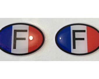 "France F Domed Gel (2x) Stickers 0.8"" x 1.2"" for Laptop Tablet Book Fridge Guitar Motorcycle Helmet ToolBox Door PC Smartphone"