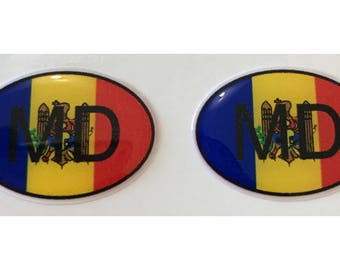 "Moldova MD Domed Gel (2x) Stickers 0.8"" x 1.2"" for Laptop Tablet Book Fridge Guitar Motorcycle Helmet ToolBox Door PC Smartphone"
