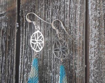 Turquoise Leaf design sterling silver dangle earrings
