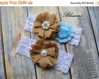 SALE LIGHT BLUE Burlap Bridal Garter Set - Keepsake & Toss Wedding Garters - Burlap Chiffon Flower White Lace Garter - Rustic Country