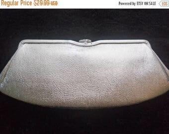 On Sale Vintage Shiny Silver Collectible Clutch 1950's Mad Men Mod Mid Century Hollywood Regency Handbag Purse
