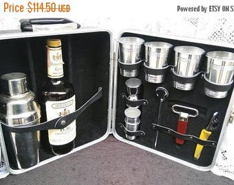 On Sale Vintage Portable Pub Travel Bar-  Retro Cool Barware Set - 1960's Man Cave Home Decor Mid Century Modern Industrial