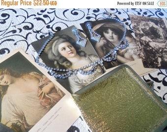 Now On Sale Vintage Rhinestone Necklace, Earrings, Mirror & 5 Victorian Postcards 1950's Collectible Retro Mid Century Modern Vanity Home De