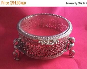 Now On Sale Vintage Jewelry Box, Ornate Filigree Red Velvet Box, 1960's Vanity Display, 1950's Home Decor Cherub Angel StyleCraft Style Box