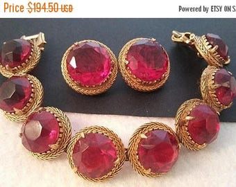 On Sale 1950's FLORENZA High End Red Glass Rhinestone Vintage Statement Bracelet Earring Set, Old Hollywood Glamour Jewelry