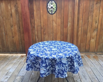 Round Tablecloth - Blue White Tablecloth Round - Vintage Tablecloth Round Table Cover - Picnic Tablecloth Cotton Tablecloth Blue