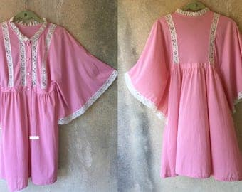 PINK Lace Batwing Girly Sheer Summer Whimsical Adorable Mini Butterfly Dress
