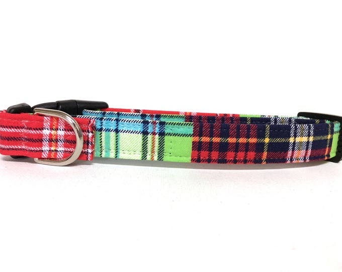 Featured listing image: Naked Dog Collar- The Mad About Plaid- Adjustable Collar