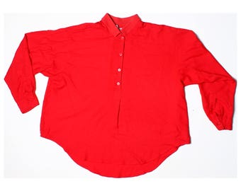 Vintage 80s Next Red Knitted Collar Oversize Shirt UK 12 US 10