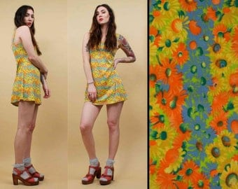 90s Vtg Acid Trip PSYCHEDELIC Rainbow Daisy Micro Mini Dress / Slinky TROPICAL Sleeveless BABYDOLL Grunge Mod Revival / Xs Sm