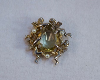 Vintage Hattie Carnegie Angels and Citrine Stone Fashion Brooch