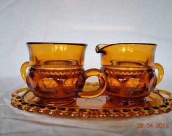 Indiana / Colony Glass Kings Crown Cream and Sugar Set