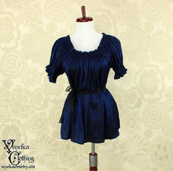 Steampunk Renaissance Cora Chemise in Dark Blue Crinkled Shimmer Satin -- Custom Made in Your Size
