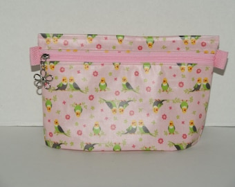 """Waterproof Zipper Pouch with Hidden Gusset Made with Japanese Laminated Cotton Fabric """"Love Birds"""" Pink"""