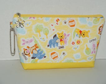 """Large Padded Zipper Pouch/Pencil Case/Cosmetic Case with Pocket Made with Japanese Cotton Oxford Fabric """"Winnie the Pooh and Friends"""""""